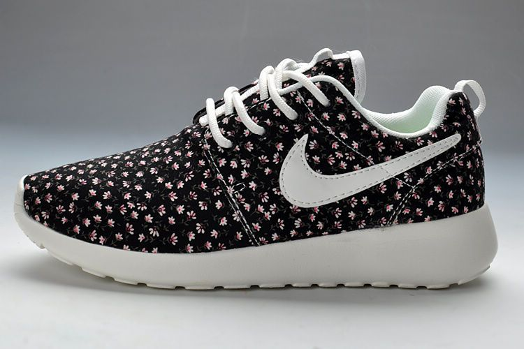 Fashion Womens Nike Roshe Run Pattern Black Flowers Shoes For Sale