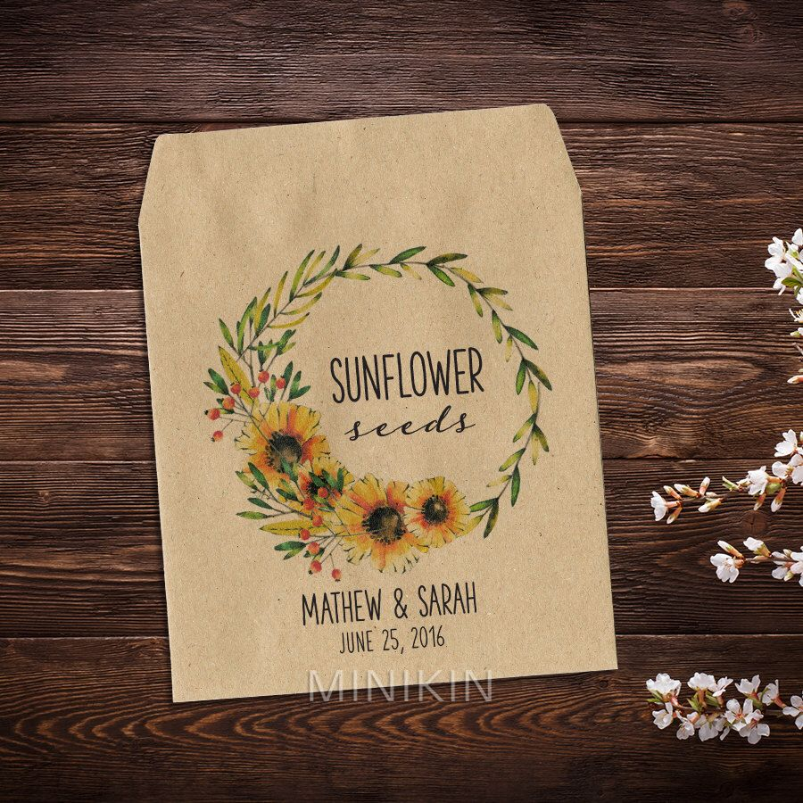 Sunflower Seed Packets Wedding Packet Favor Let Love Grow Rustic Garden X 25