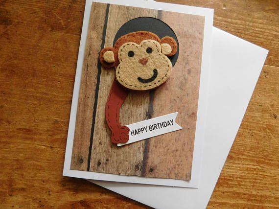 Monkey Birthday Card Monkey Card Chimpanzee Birthday Etsy Monkey Birthday Birthday Cards Handmade Birthday Cards