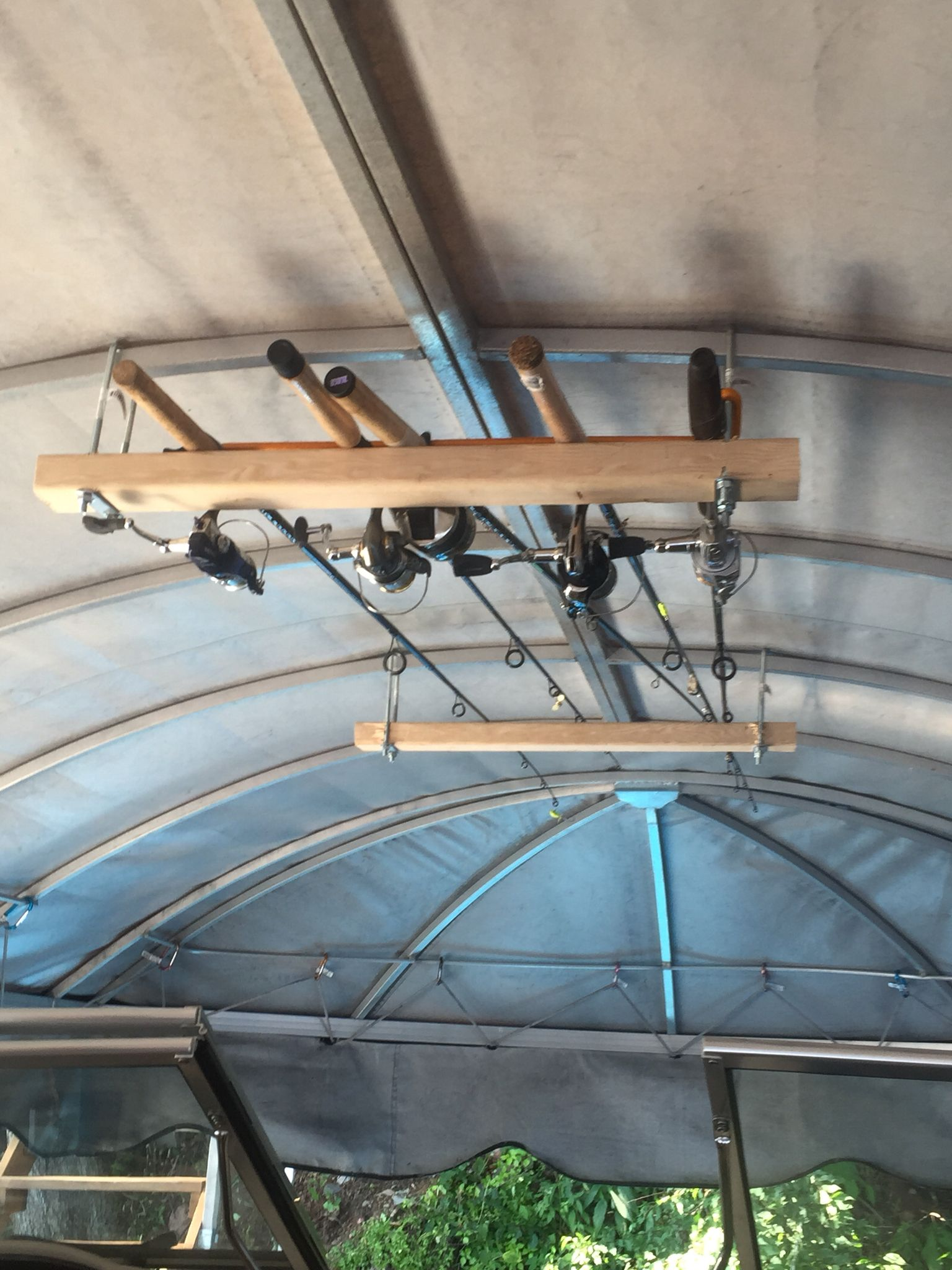 Fishing Pole Holders Under Boat Lift Canopy Storage And