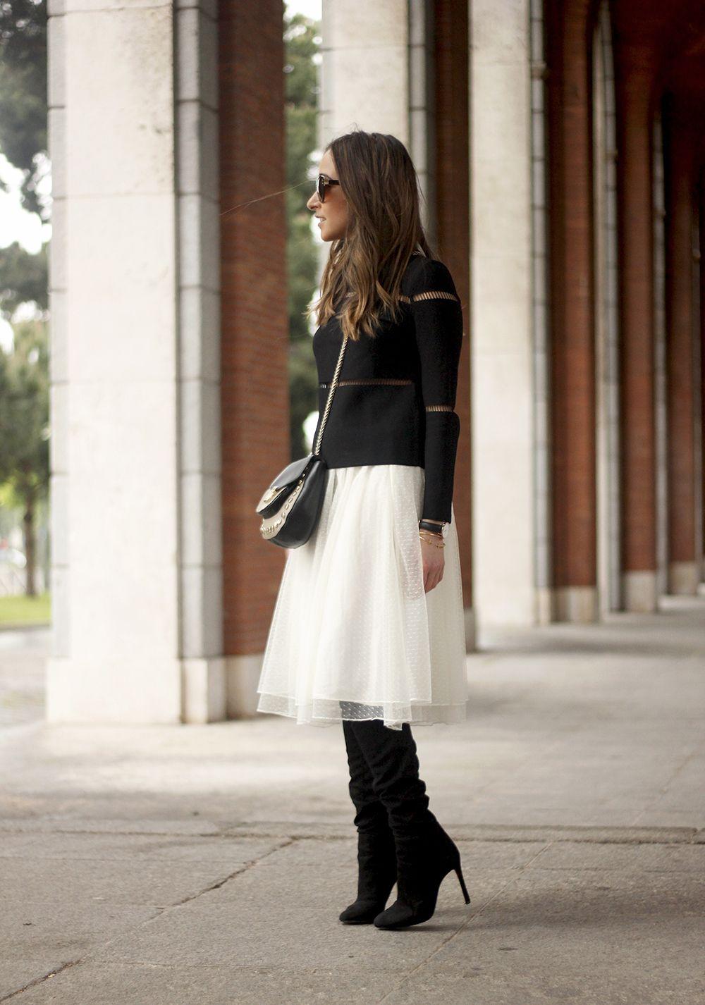d1fa886df6f Tulle White Skirt Kanten Rokje, Midi Rok Outfit, Rokoutfits, Zwarte Suède  Laarzen,