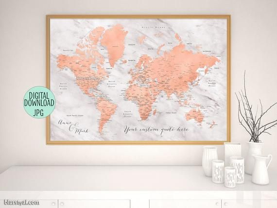 Rose gold world map, printable world map with cities, custom ...