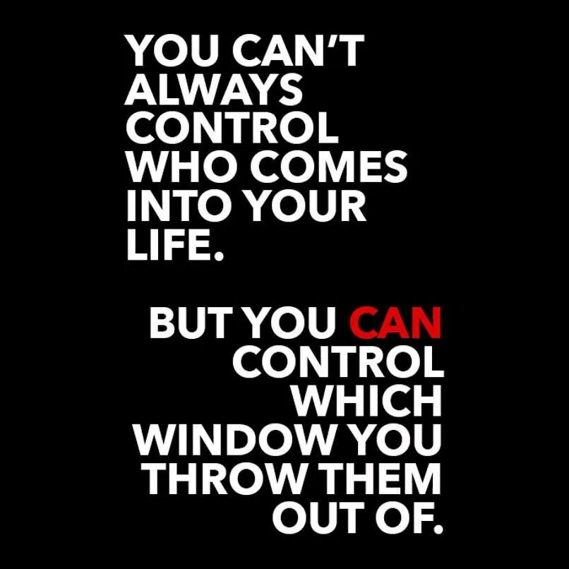 You can control which window you throw people out of, amen