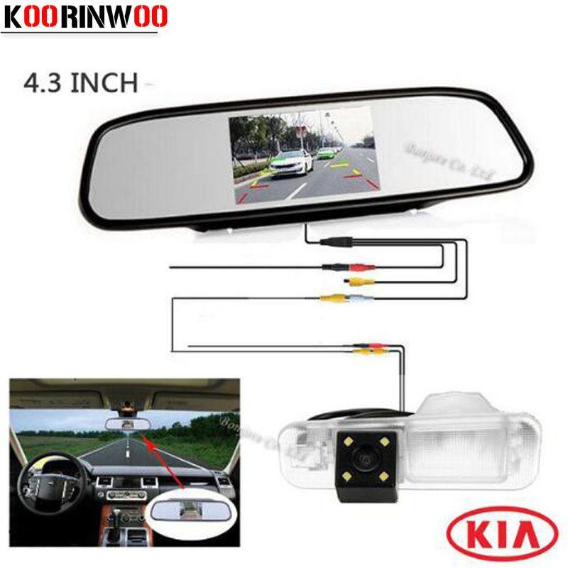 "5/"" Rear View Kit Mirror Monitor Waterproof Reverse Car Backup HD CCD Camera Gear"