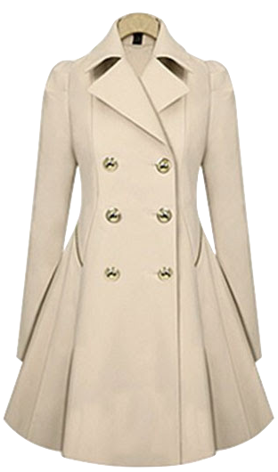 Double Breasted A-line Long Trench Coat in Beige