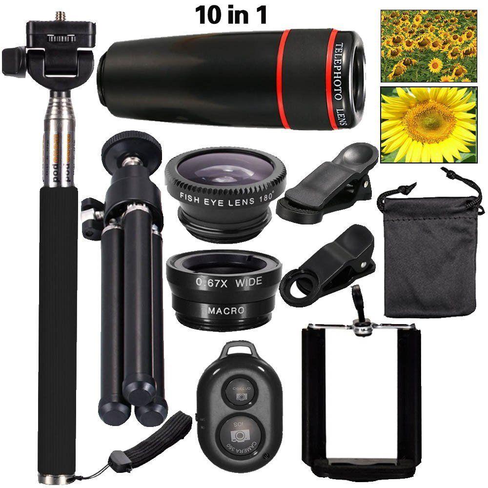 New 10in1 Phone Camera Lens Kit 8x Telephoto Lens   Wide Angle   Macro Lens  Fish Eye  Selfie Stick Monopod   Mini Tripod