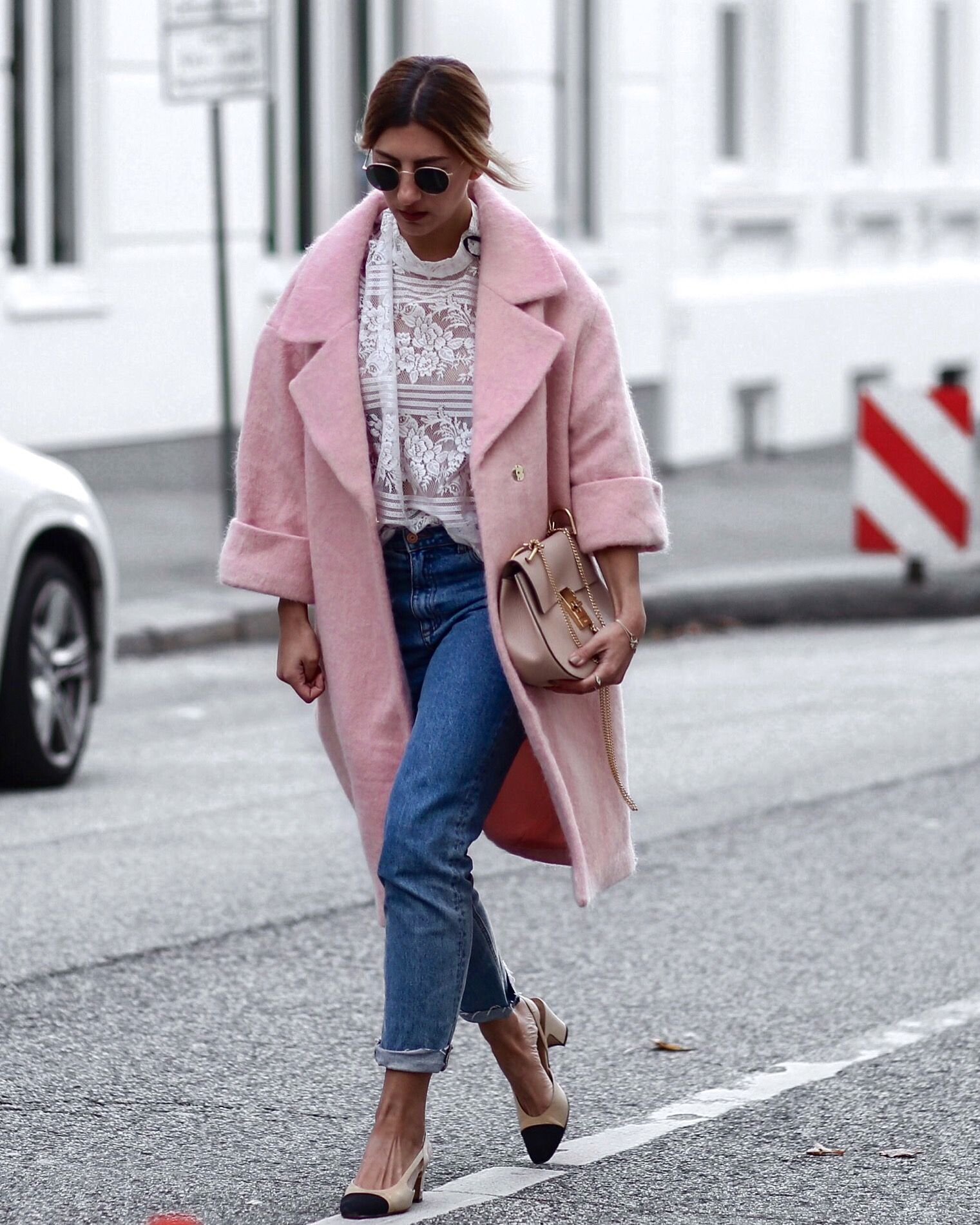 Chanel Slingback pump pink oversized coat H&M Trend … | Pinteres…