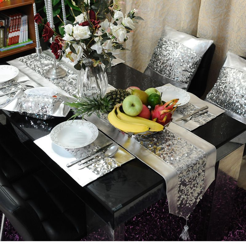 Ordinaire Silver PU Silver Paillette Table Flag Table Runner Placemat Pillow Cover  Modern Brief Table Cloth Set US $89.99