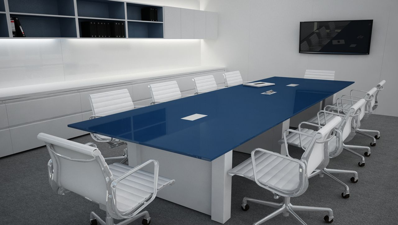 Conference Table And Storage With Blue Finishes Innovant Inc - Conference table with storage