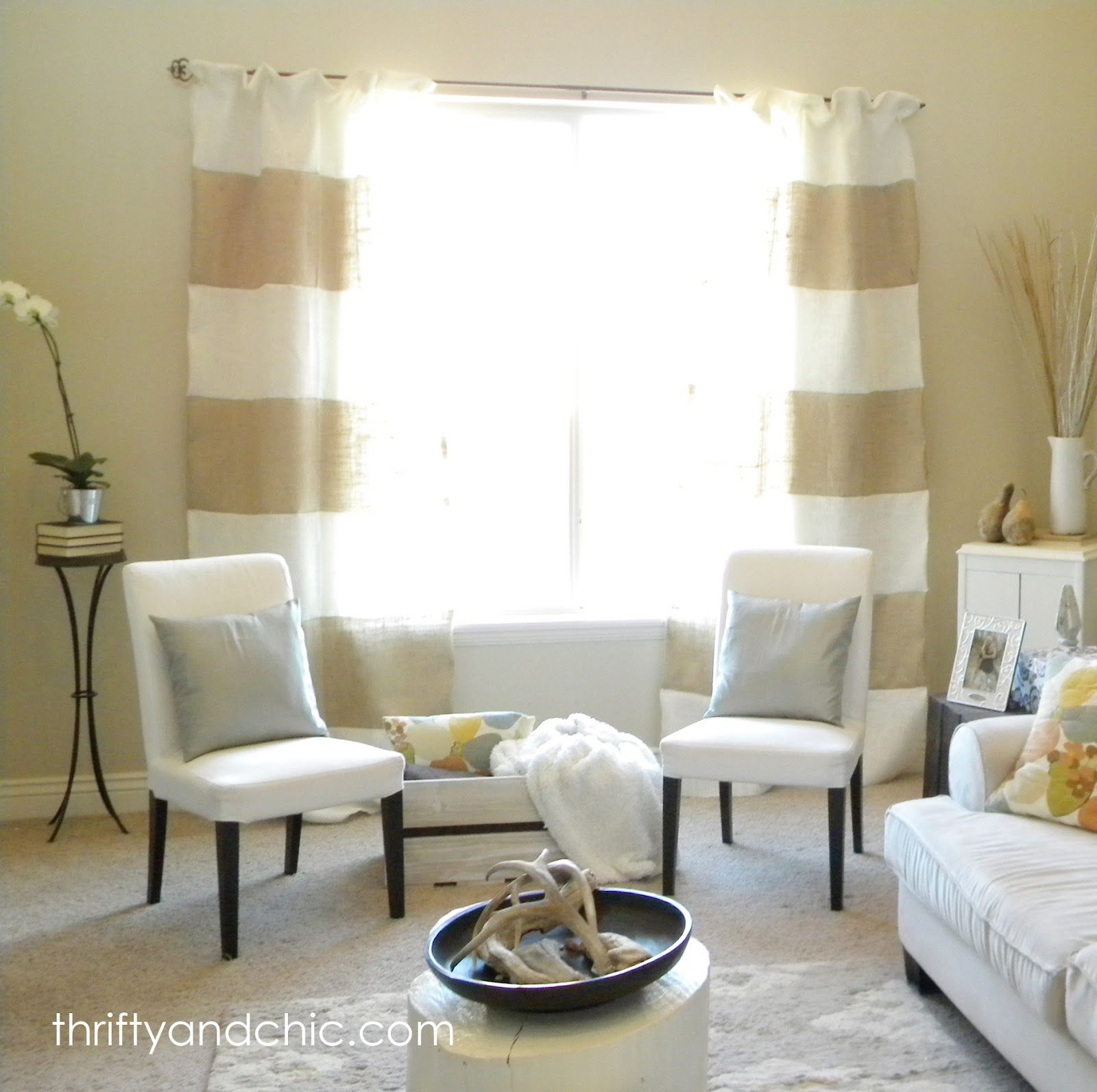 Thrifty And Chic Striped Burlap Curtains How To Make Maybe Black Instead Of White