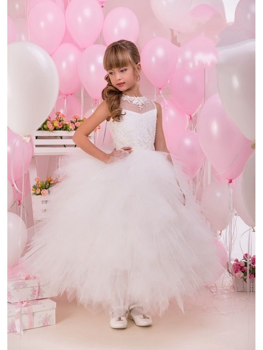 Illusion Neckline Beaded Lace Tulle Princess Ball Gown Flower Girl ...