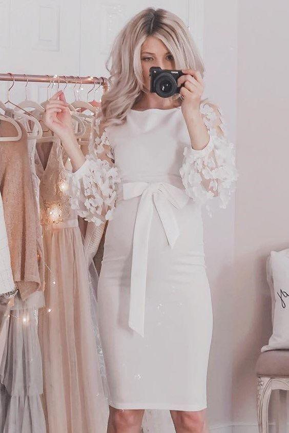 flower applique mesh sleeve form fitting dress mode en. Black Bedroom Furniture Sets. Home Design Ideas