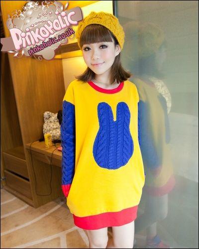 Colourful bunny long sweater [PHC6096] - £25.00 : Pinkoholic, Asian Fashion Gateway
