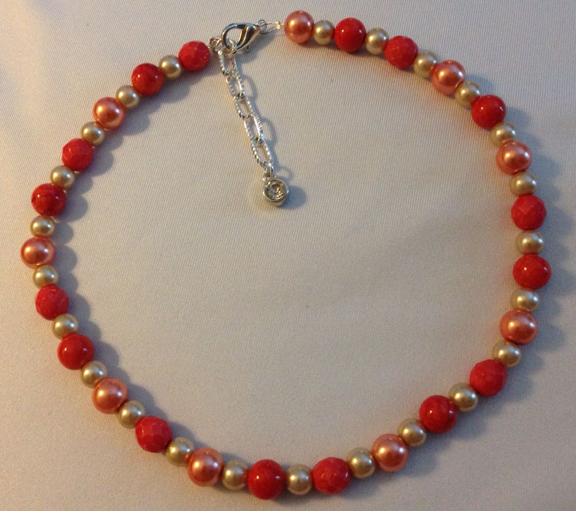 Red dyed jade and cream Pearl necklace with silver rhinestone ...