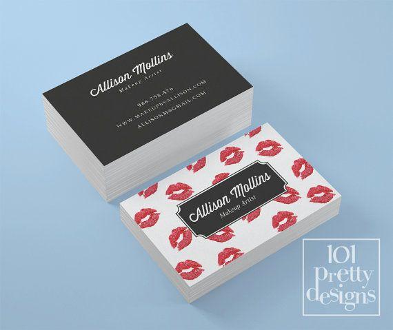 Modern Business Card Template Kisses Printable By Prettydesigns - Modern business card template
