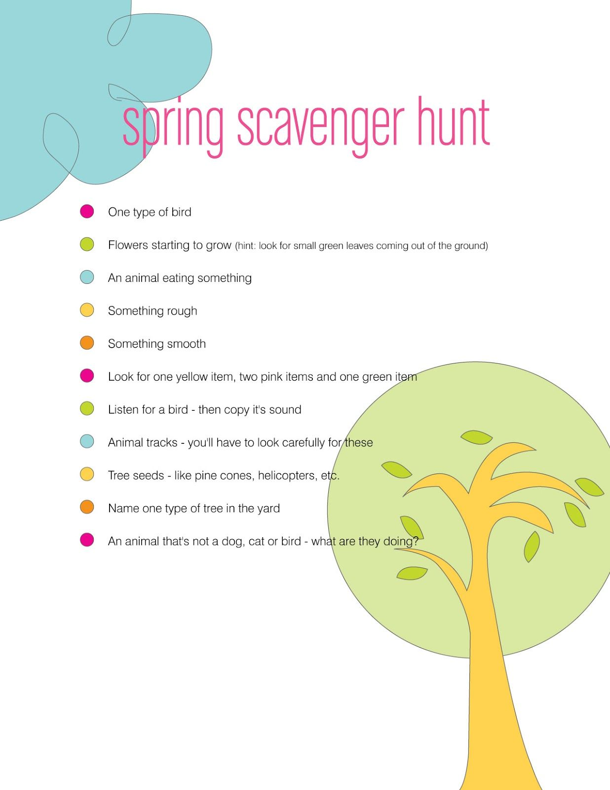 Free Download Spring Scavenger Hunt Great Idea For