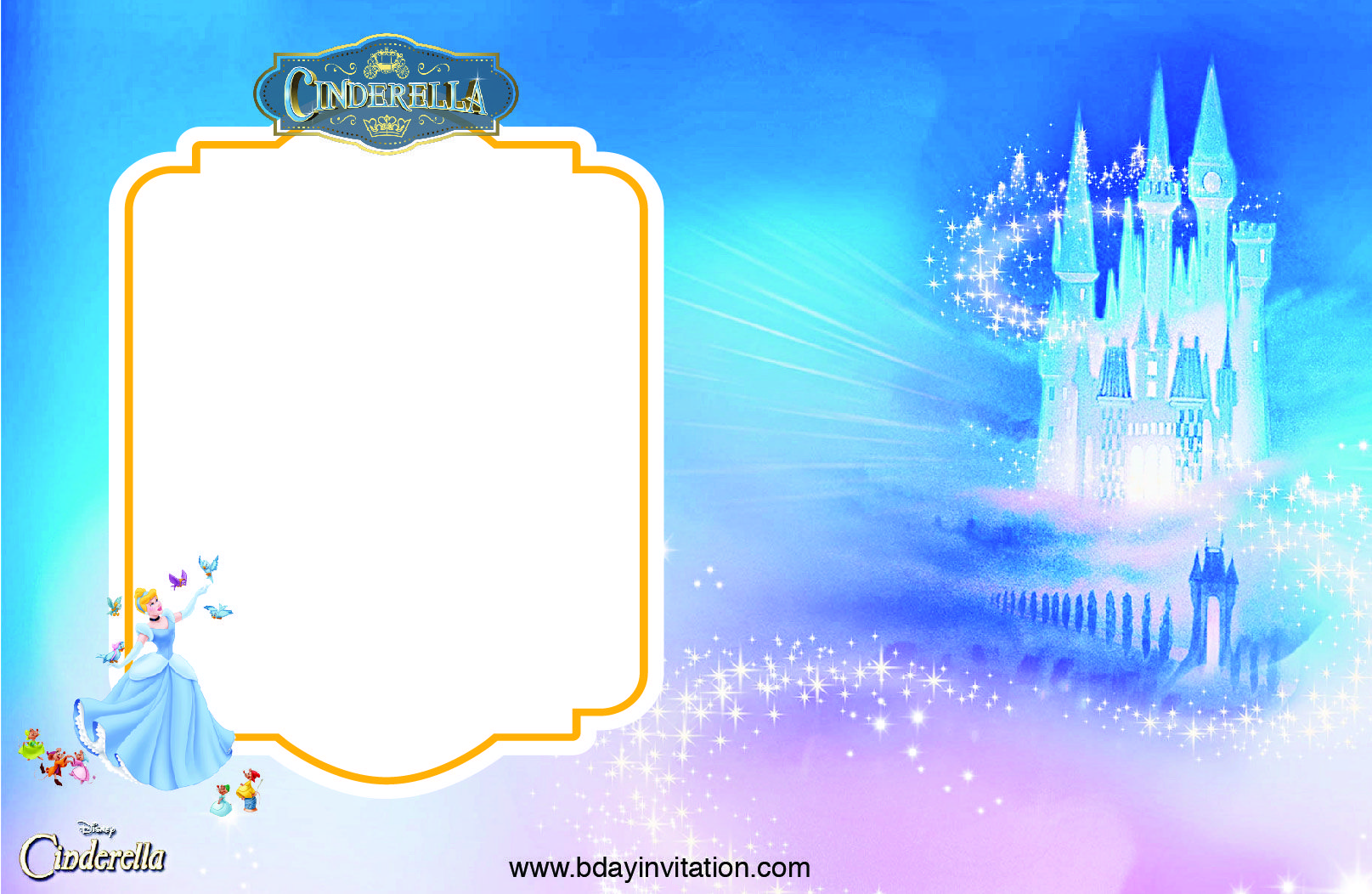 get free printable disney cinderella party invitation template