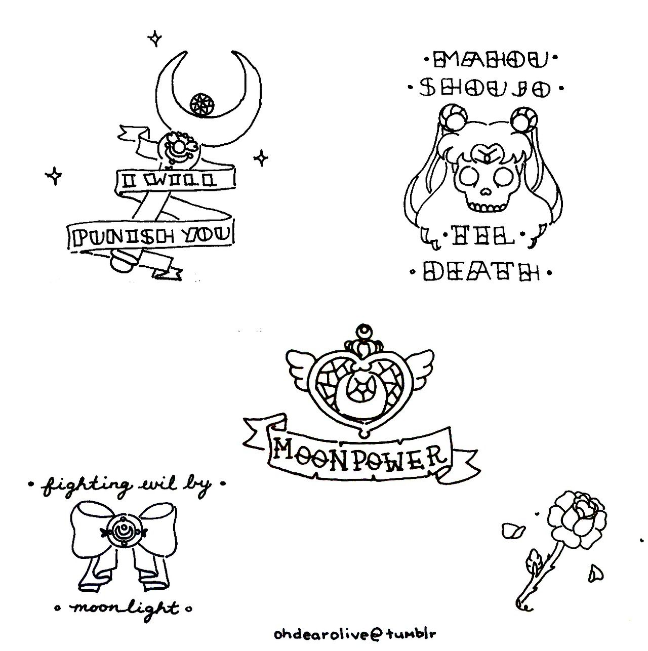 i drew some sailor moon themed traditional tattoos as a