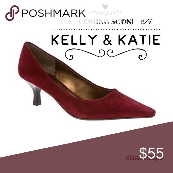 """5d2aaedc873e These maroon (wine) suede kitten heels are perfect for fall. """"Leather upper  balance. Man made materials."""" Kelly & Katie Shoes Heels"""