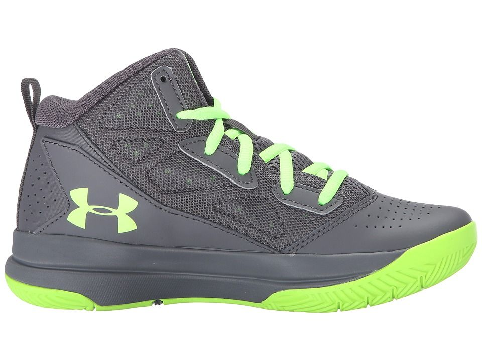 91c48978d Under Armour Kids UA BGS Jet Mid Basketball (Big Kid) Boys Shoes Stealth  Gray Stealth Gray Hyper Green