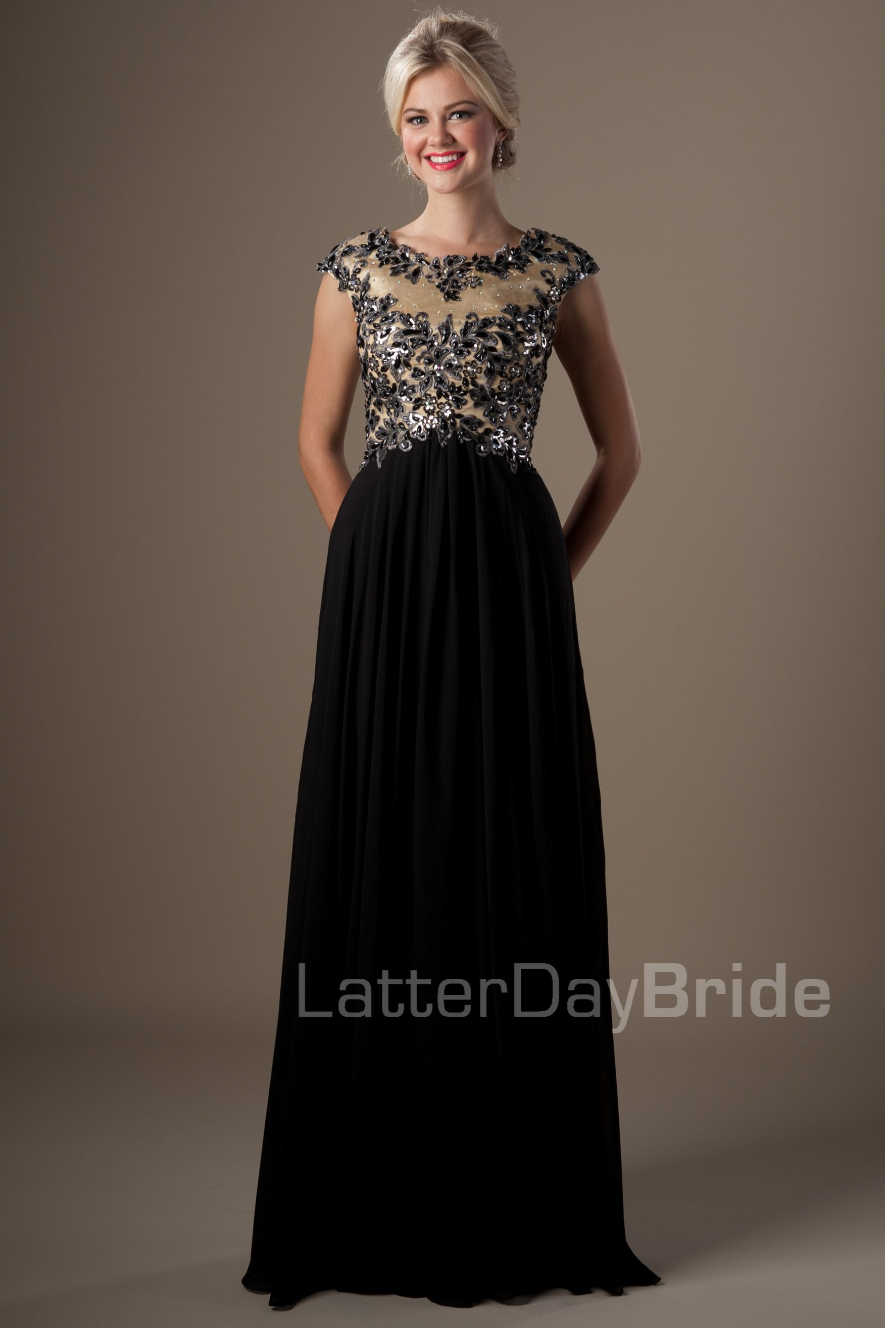 Modest Prom Dresses : Felicity awful hair, but love the dress #modestprom