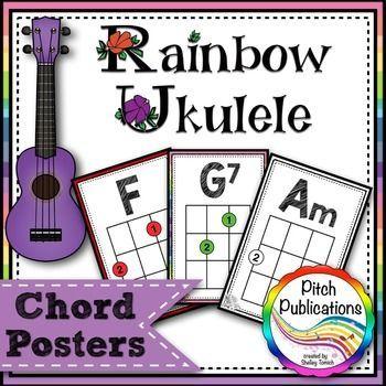 Rainbow Ukulele - Ukulele Chord Chart Posters - Letter and 11 by - ukulele chord chart