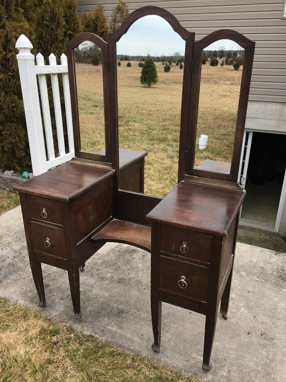 having vanities make stained stand cream round mirror table clips antique furniture up carved vanity oak wood with