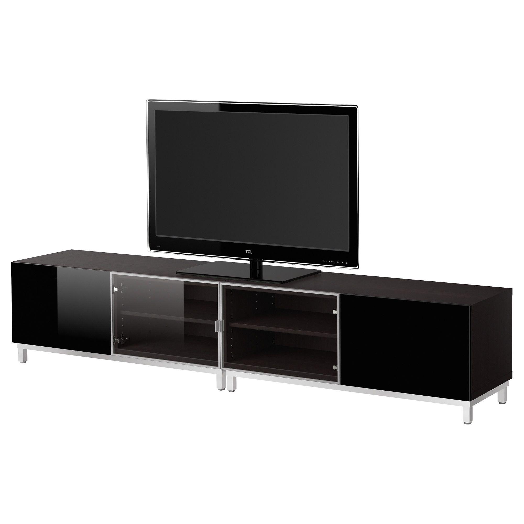 Best Tv Bench With Glass Doors Black Brownhigh Gloss Black