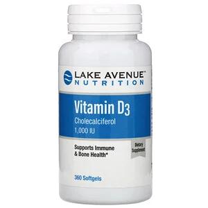 Lake Avenue Nutrition Vitamin D3 25 Mcg 1 000 Iu 360 Softgels Vitamins Vitamin D3 Nutrition