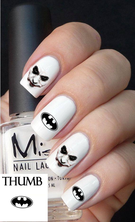 Batman and joker nail decals nail decal nail art by DesignerNails ...