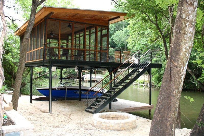 Austin Boat Docks Screen Porch 2nd Deck Lakefront Living Floating Boat House Boat