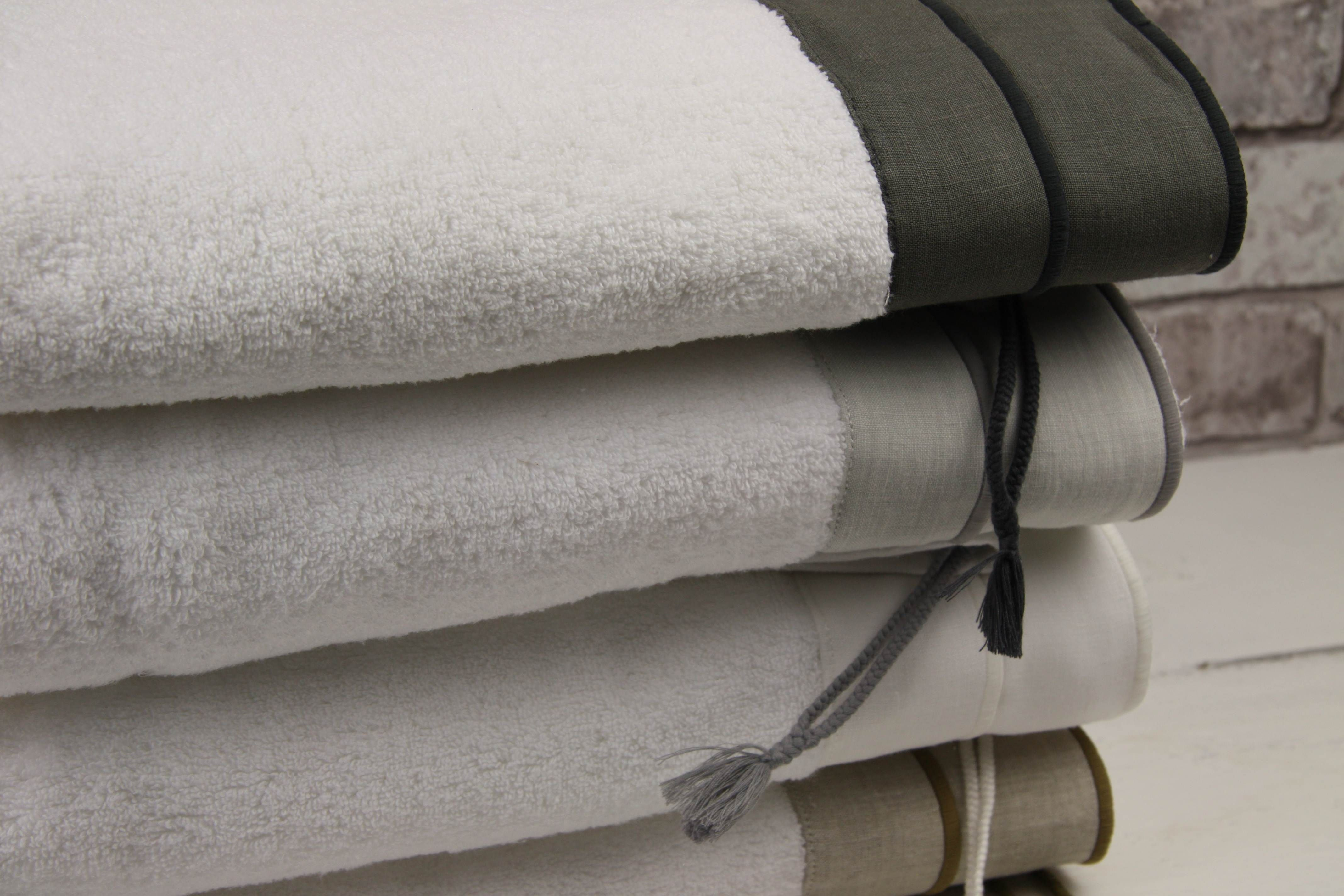 """Beautiful Towel """"Belle"""" with Linen Band from the Flamant Home Linen Collection"""