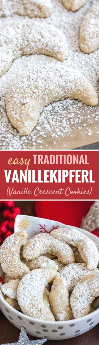 Vanillekipferl German Vanilla Crescent Cookies are traditional German Christmas Cookies made with ground nuts and dusted with vanilla sugar They are tender nutty and melt...