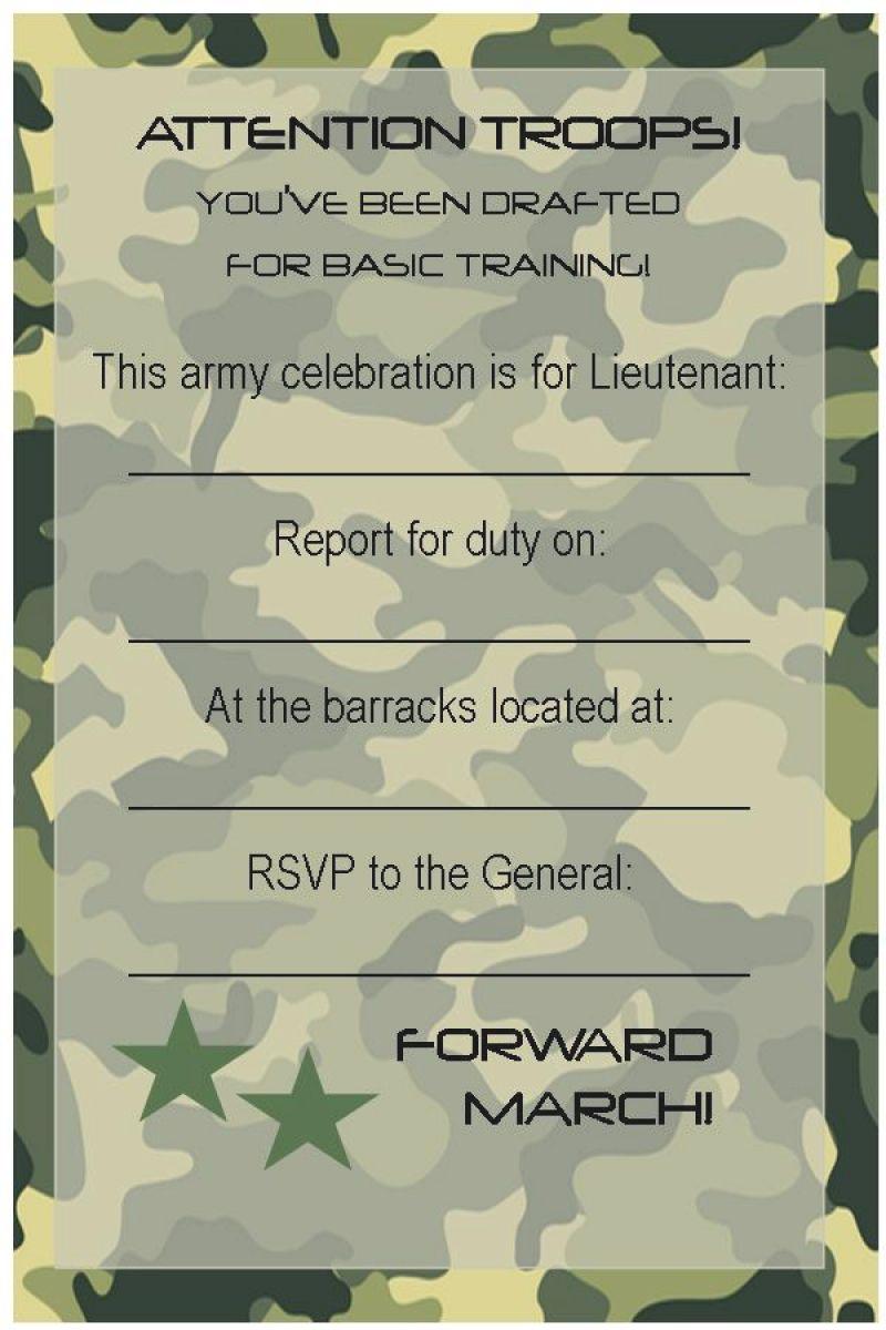free army birthday invitation template  Birthday party