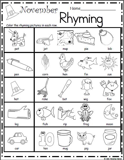 November Rhyming | Rhyming worksheet, Rhyming kindergarten ...