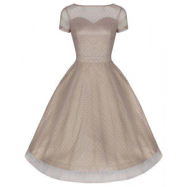 2550d8c604  Leona  Classy Yet Sassy Dark Vanilla Polka Dot Print Vintage 50 s Party  Dress.