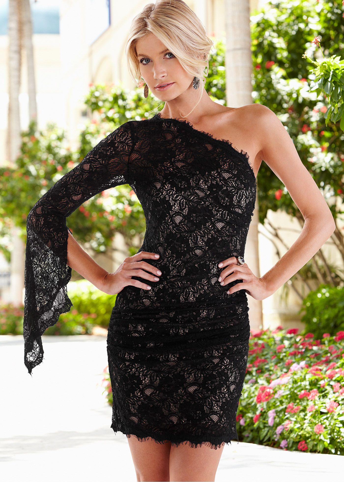 608add15f Vestido tubinho ombro único preto encomendar agora na loja on-line bonprix.de  R$ 199,00 a partir de Exala feminilidade pura! Vestido de renda sexy, de .