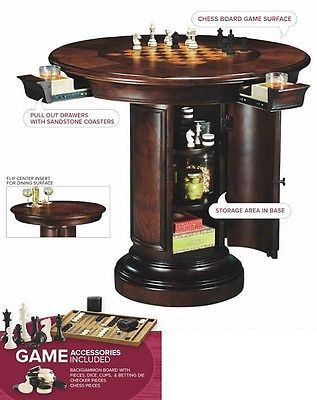 Game Table Round Wood Backgammon Checkers Chess Board Pub Home Bar Dining  Cherry