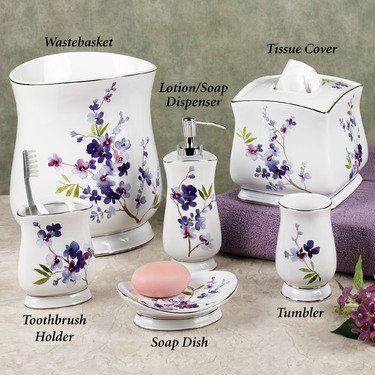 Lavender Bathroom Decor, Flower Bathroom Sets