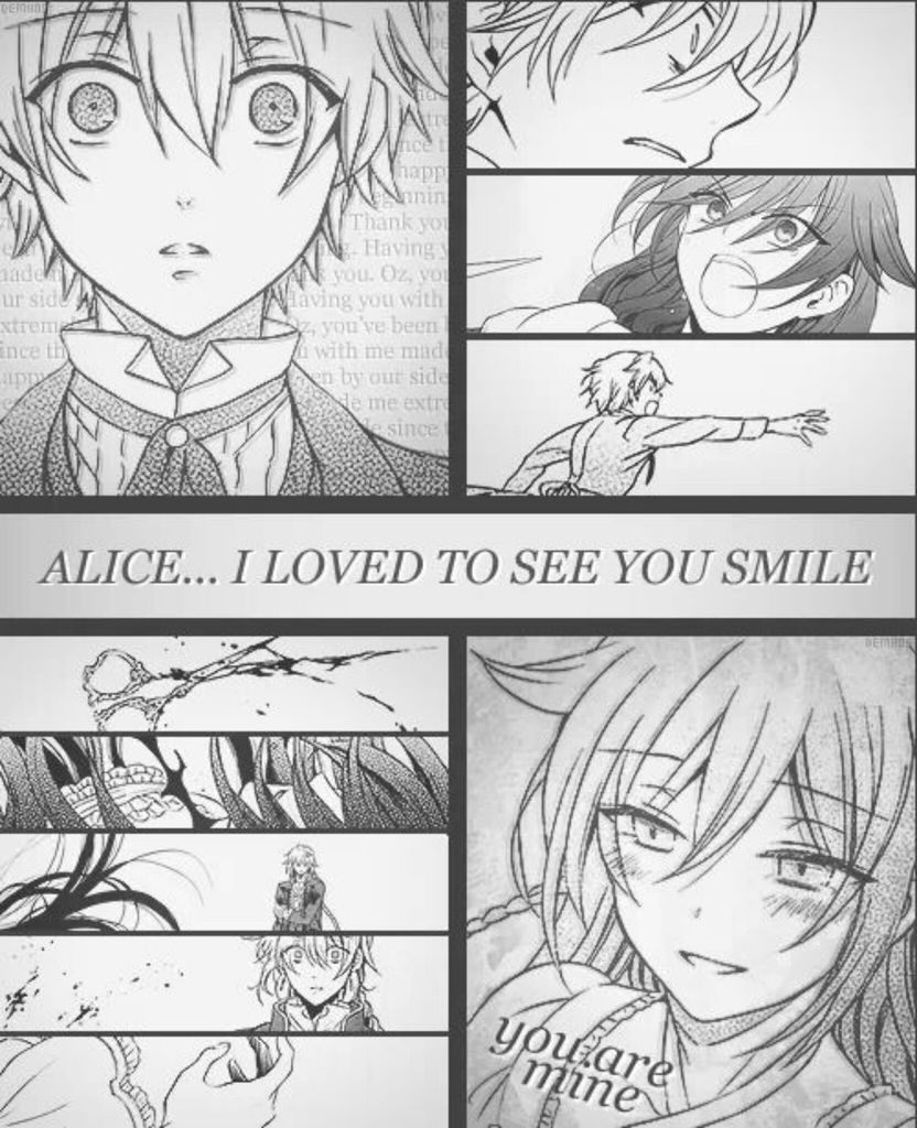 Alice and Oz. I AM NOT EMOTIONALLY PREPARED FOR THE CHAPTER COMING OUT IN 3 DAYS NOT TO MENTION THE FACT THAT THERE ARE PROBABLY ONLY TWO (maybe three if we're lucky) CHAPTERS LEFT!!!! AAAH THIS SERIES WILL BE THE DEATH OF ME