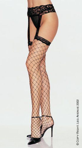 e1cdb91db12 Leg Avenue Women s Lycra Fence Net Stockings with Attached Garter Belt   1769  12.00