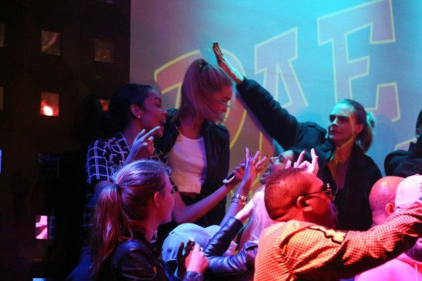 October 21, 2014- Hailey Baldwin, Kendall Jenner, Cara Delevingne, Gigi Hadid, & Josephine Skriver at S.O.B's
