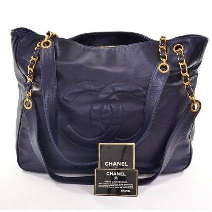 Chanel Navy Blue Jumbo Shopper