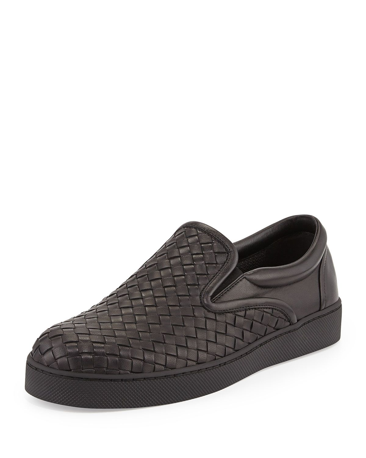 Mens Leather Slip On Sneakers