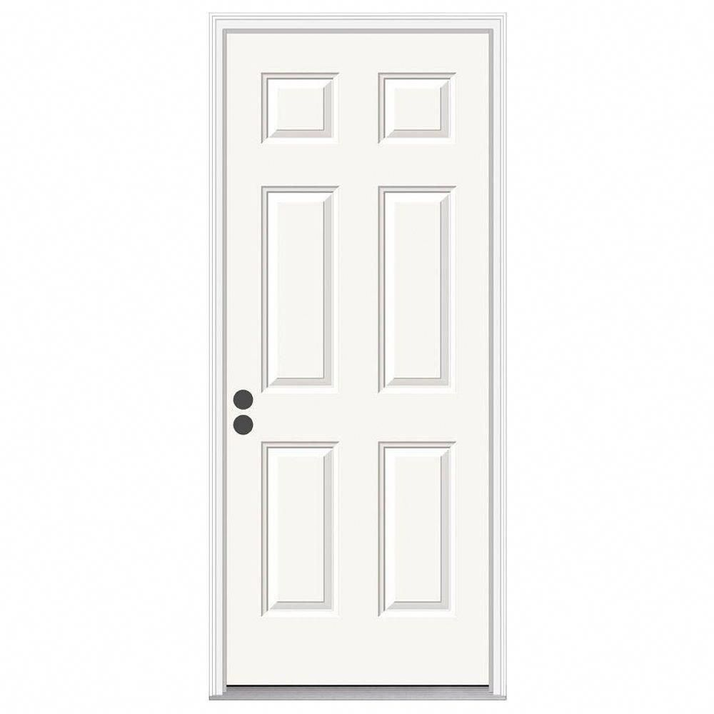 Jeld Wen Fire Rated 6 Panel Primed White Steel Prehung Commercial Door With Brickmould Thdjw166100237 The Steel Doors Exterior Steel Entry Doors Steel Doors