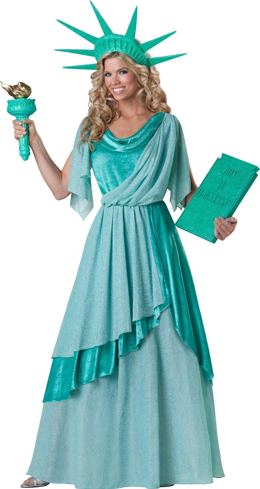 CA703 Miss Lady Liberty Costume Kit Patriotic Statue America Shirt Torch Crown