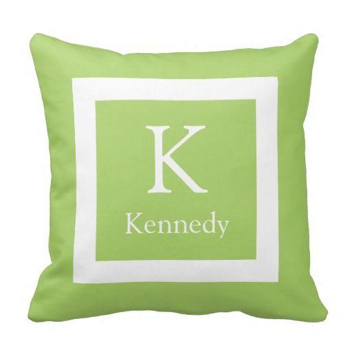 Green White Custom Monogram Name Pillow