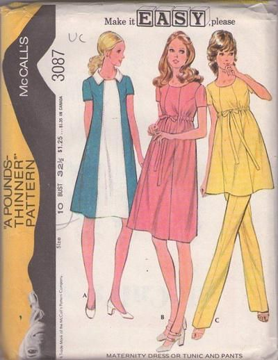 af8ec1dc648 MOMSPatterns Vintage Sewing Patterns - McCall s 3087 Vintage 70 s Sewing  Pattern GORGEOUS Make it Easy Mod Maternity Ribbon Drawstring Waist  Contrast Color ...