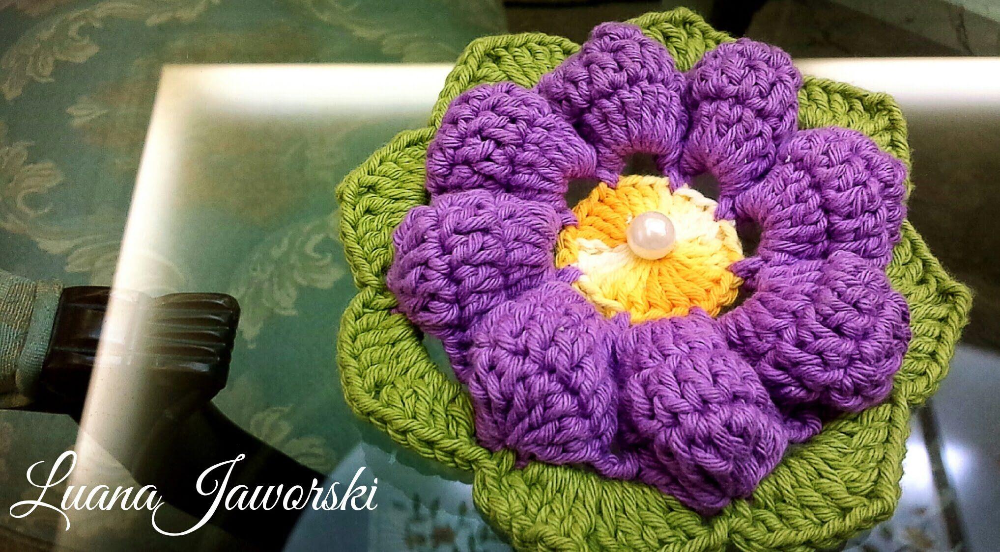 Flor Ciclame Crochê | Passo a Passo | Luana Jaworski | Flower ...