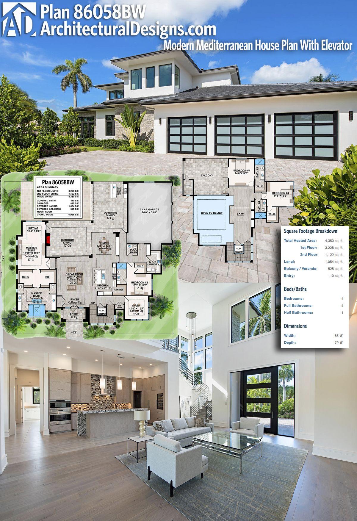 Plan 86058BW Modern Mediterranean House Plan